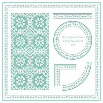 둥근 나선형 덩굴 꽃의 빈티지 프레임 패턴 세트