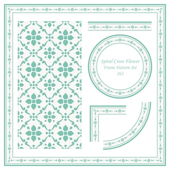 나선형 크로스 꽃의 빈티지 프레임 패턴 세트