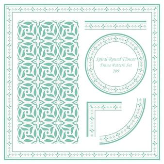 나선형 라운드 꽃의 빈티지 프레임 패턴 세트