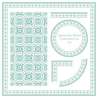 광장 크로스 꽃의 빈티지 프레임 패턴 세트