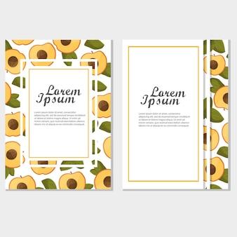 빈티지 프레임 - 메뉴 디자인을 위한 복숭아 또는 살구. 여름 또는 가을 템플릿