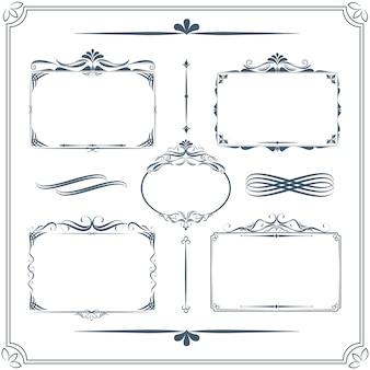 Vintage frame set. calligraphic