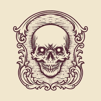 Vintage frame skull engraving illustrations