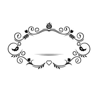 Vintageフレームテンプレート。結婚式のカードやプリントのデザインのための装飾的な花の要素。抽象的な植物の動機。ベクトルイラスト。