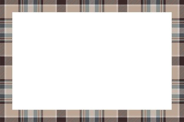 빈티지 프레임 벡터입니다. 스코틀랜드 국경 패턴 복고 스타일. 아름다움 빈 배경, 사진, 초상화, 앨범 템플릿. 타탄 체크 무늬 장식.