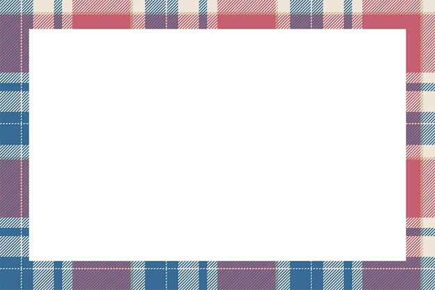 빈티지 프레임 벡터입니다. 스코틀랜드 테두리 패턴 복고 스타일입니다. 아름다움 빈 배경, 사진, 초상화, 앨범 템플릿. 타탄 체크 무늬 장식.
