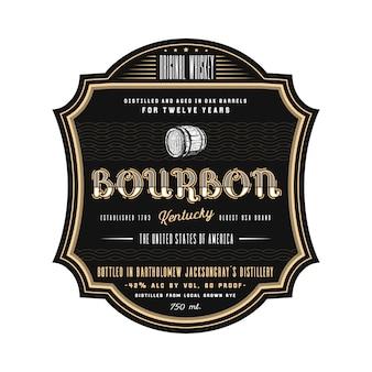 Винтажная рамка дизайн этикетки виски, логотип бурбон логотип напитка. классический ретро дизайн этикетки