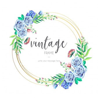 青い花のビンテージフレーム
