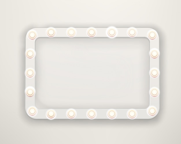Vintage frame with bright lightbulbs. bright retro frame template for a text