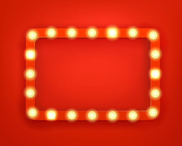 Vintage frame with bright lightbulbs
