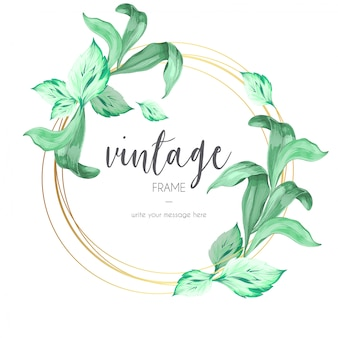 Vintage Frame with Ornamental Leaves