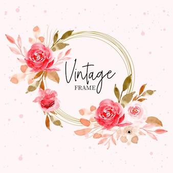 Vintage frame with watercolor floral and leaves