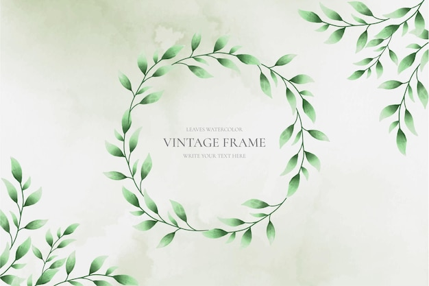 Vintage frame with watercolor leaves background