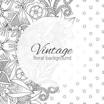 Vintage frame with zentangle flowers