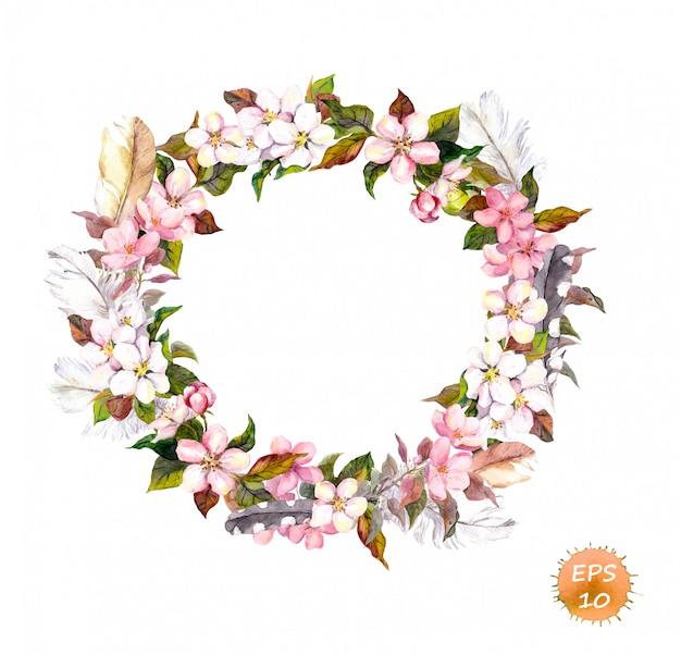 ビンテージフレーム、自由奔放に生きるスタイルの花輪。