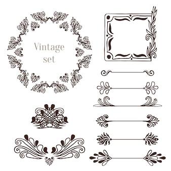 ヴィンテージフレームとボーダー要素。ベクトル装飾コレクション