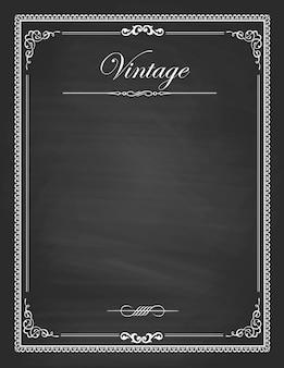 Vintage frames, blank black chalkboard design