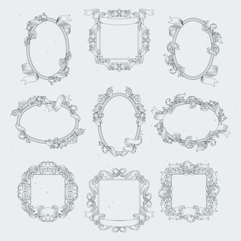 Vintage frames with victorian ribbons. vector set in retro style