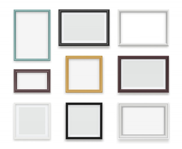 Vintage frames. wooden painting and photo empty boards for exhibition  template realistic