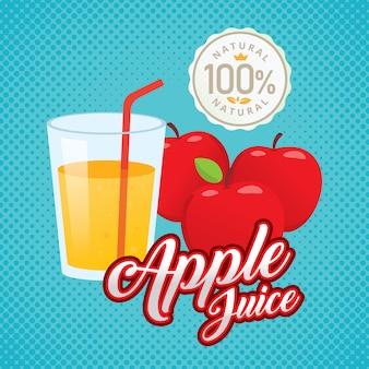 Vintage fresh apple juice vector illustration