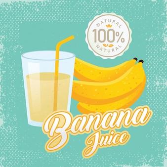Vintage fresh banana juice vector illustration