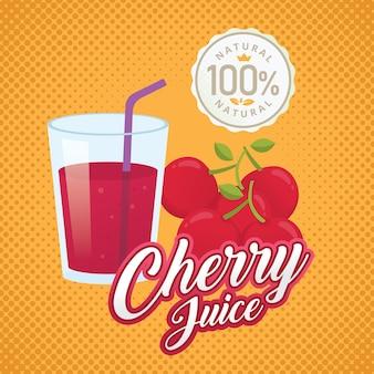 Vintage fresh cherry juice vector illustration