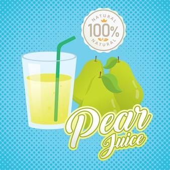 Vintage fresh pear juice vector illustration