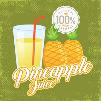Vintage fresh pineapple juice vector illustration