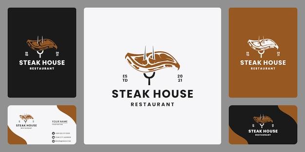 레스토랑을 위한 빈티지 신선한 스테이크 로고 디자인 템플릿