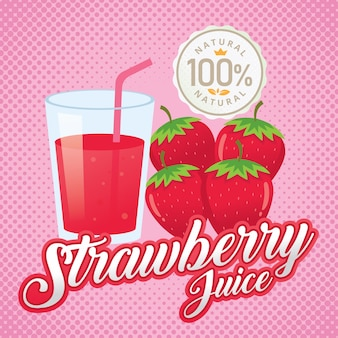 Vintage fresh strawberry juice vector illustration