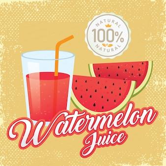 Vintage fresh watermelon juice vector illustration