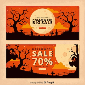 Vintage full moon halloween banners
