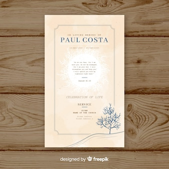 Vintage funeral card template