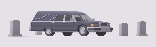 Vintage funeral hearse car in cemetery. isolated illustration. collection