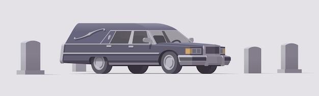 墓地のヴィンテージ葬儀霊柩車。孤立したイラスト。コレクション