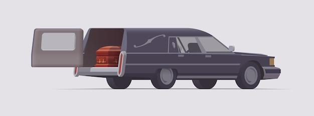 中に棺が入ったヴィンテージの葬儀霊柩車。孤立したイラスト。コレクション