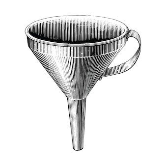 Vintage funnel hand drawing engraving illustration black and white clip art isolated