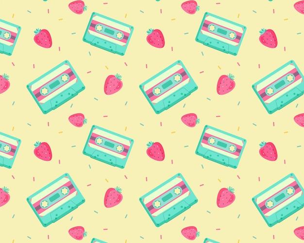 テープとイチゴのヴィンテージ面白いパターン