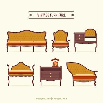 Vintage furniture pack Free Vector