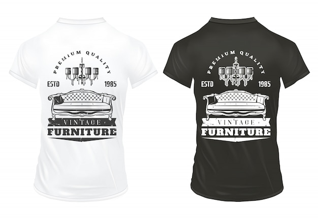 Vintage furniture prints template with inscriptions retro sofa chandelier on black and white shirts