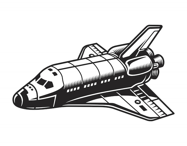ビンテージの未来的な宇宙船のコンセプト