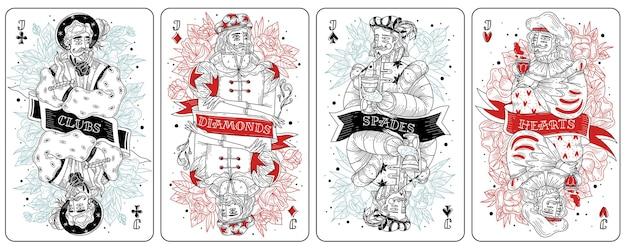 ヴィンテージギャンブル、刻印ダイヤモンド、クラブ、スペード、ハート