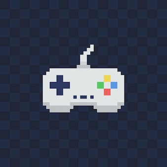 Vintage gamepad on transparent background. pixel art style joystick  illustration.