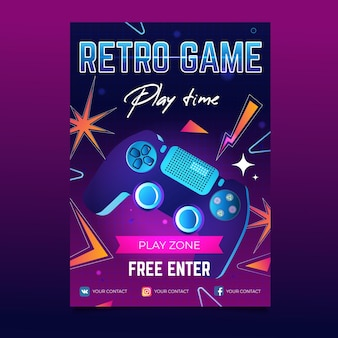 Шаблон винтажного игрового плаката