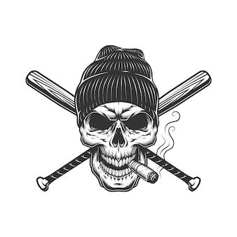 Vintage gangster skull in beanie hat
