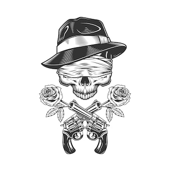Старинный гангстерский череп в шляпе федора