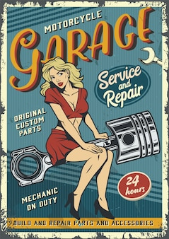 Vintage garage service poster template with pin up girl