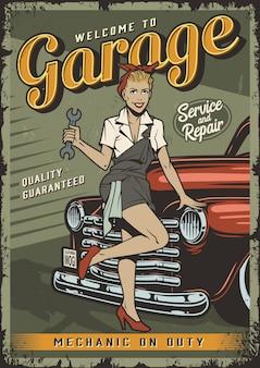 Modello di poster servizio garage vintage con pin up ragazza del meccanico