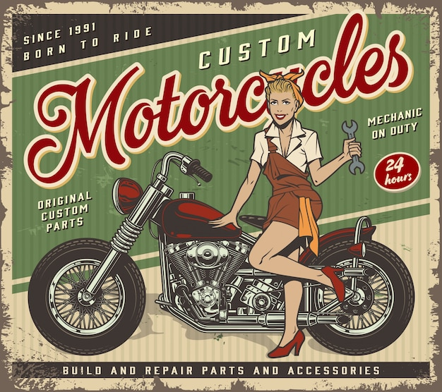 Vintage garage service poster template with pin up mechanic girl