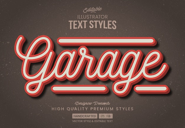 Vintage garage text style